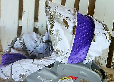 infant car seat cover and hood cover snow realtree camo with royal blue minky