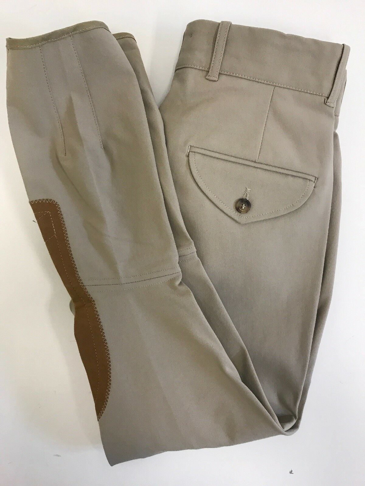 Tailored Sportsman TS Men's Tan Knee Patch Breeches Made in USA NWT