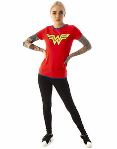 Wonder-Woman-DC-Comics-Metallic-Gold-Logo-Women-039-s-Red-Superhero-T-Shirt