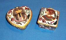 Egyptian Themed Porcelain Trinket Boxes Set of 2 Nice