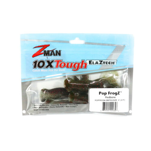 Zman Soft Köder Pop FrogZ 4 Zoll 4 per pack Redbone Glow 0846