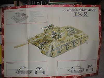 CARRO ARMATO DA COMBATTIMENTO T 54/55, Micheluzzi Poster Eserciti e armi anni'70