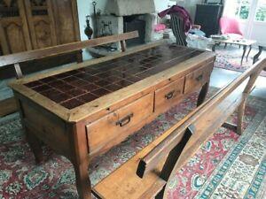 Table de Ferme Manoir 180 cm - Chêne avec 4 Rallonges et 2 bancs