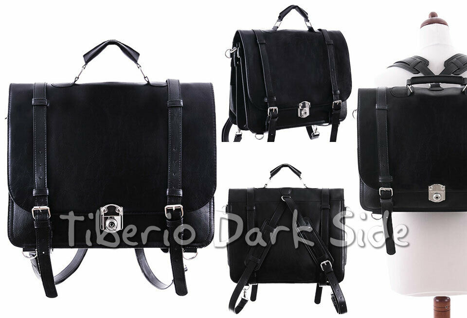 RESTYLE Classic Plain Buckles Black Faux Leather Gothic Messenger Bag Backpack