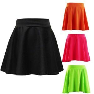 Filles-Jupe-de-Patineuse-Enfants-Fluo-Lumineux-Mini-Fashion-jupes-7-8-9-10-11-12-13-ans