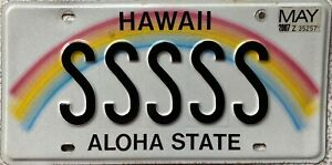 GENUINE-American-Hawaii-Aloha-State-Rainbow-Vanity-License-Number-Plate-SSSSS