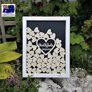 Details About Personalised Customised Wedding Guest Book Drop Boxlargewith 120 Wooden Hearts