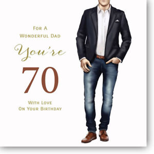 Image Is Loading LARGE Happy 70th Birthday Card For Dad By