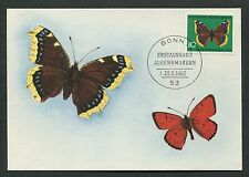 BUND MK 1962 SCHMETTERLINGE BUTTERFLY MAXIMUMKARTE CARTE MAXIMUM CARD MC d4573