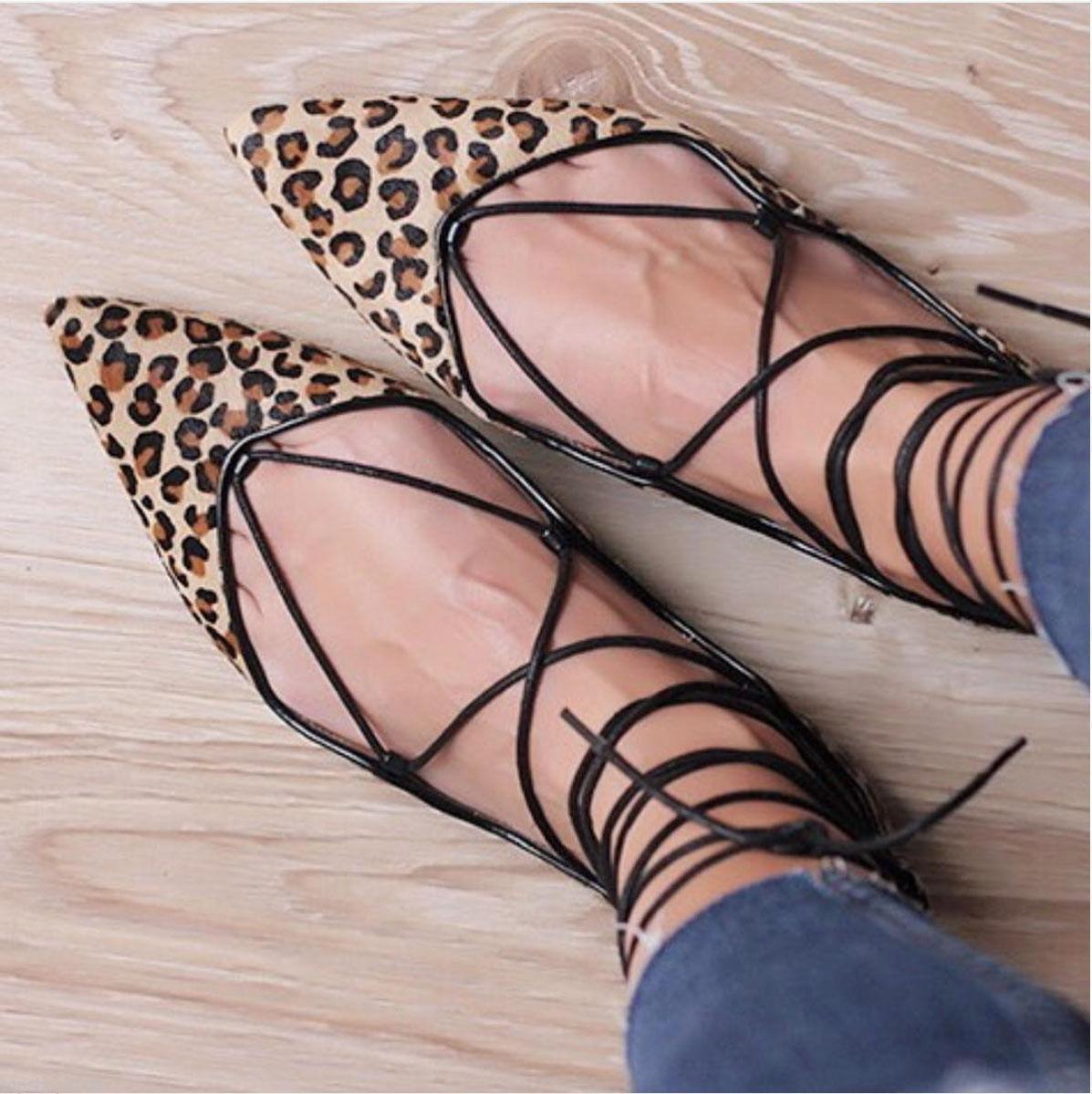 Zara leopardo con cordones Bailarinas Ballet Zapatos sin sin sin Taco Skinny De Pelo 5317 001 39 8 6  venta caliente