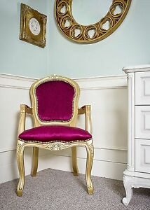 French Louis Armchair Gold Red Shabby Chic Antique Style Bedroom