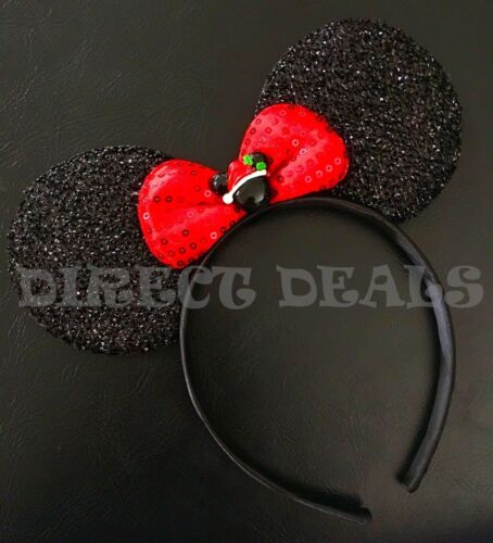 Minnie Mouse Headband Sparkly Black Ears Red Bow Christmas Mickey Hat Red Green