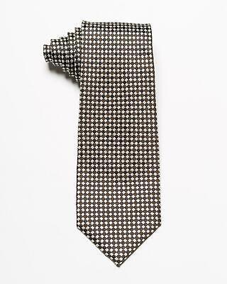 "Tom Ford $270 Brown Gray Small Geometric Square Pattern Silk Wool Blend Tie 3.4"""