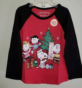 NEW-Jumping-Beans-Girls-3T-Long-Sleeve-Peanuts-Christmas-Tee-RED-T-Shirt-19419