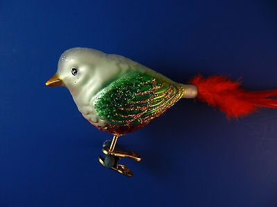 Old World Christmas Ornament Glass Tree Noel Songbird Bird Animal NWT 18113