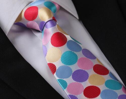 Pink Blue Red Polka Dot Silk Men Tie Neckties Hanky Handkerchief Set CA#TD3005K8