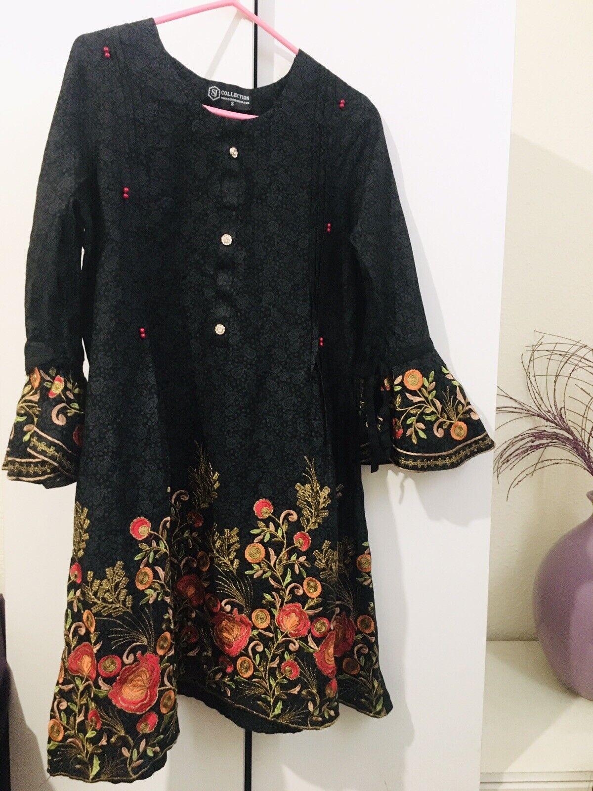 Ladies/ Girls Black Asian Dress/ Kurta Tunic Top With Embroidery Size Small