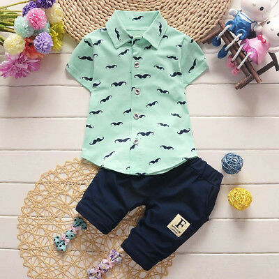 Toddler Baby Kids Boy Shirt Tops+Pants Handsome Outfits Party Clothes 2PCS Set