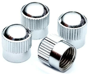 4-er-Set-Premium-Ventilkappen-GROOVE-Messing-Chrom-Valve-Caps-Reifen-Ventil