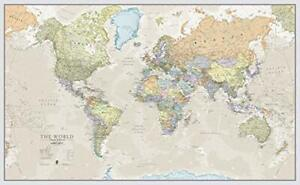 Details about World Map Poster Large Giant Wall Maps Classic Colours  Laminated 197 x 116.5cm