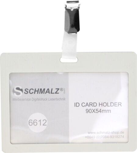 10 x Kartenhalter TULLA mit Metall Clip Ausweishülle Kunststoff Werksausweis