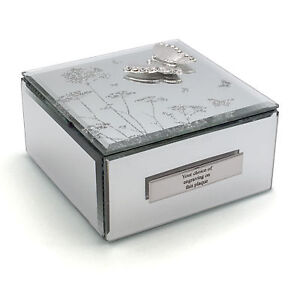 Details About Personalised Beautiful Mirror Glass Butterfly Jewellery Box He555jb P