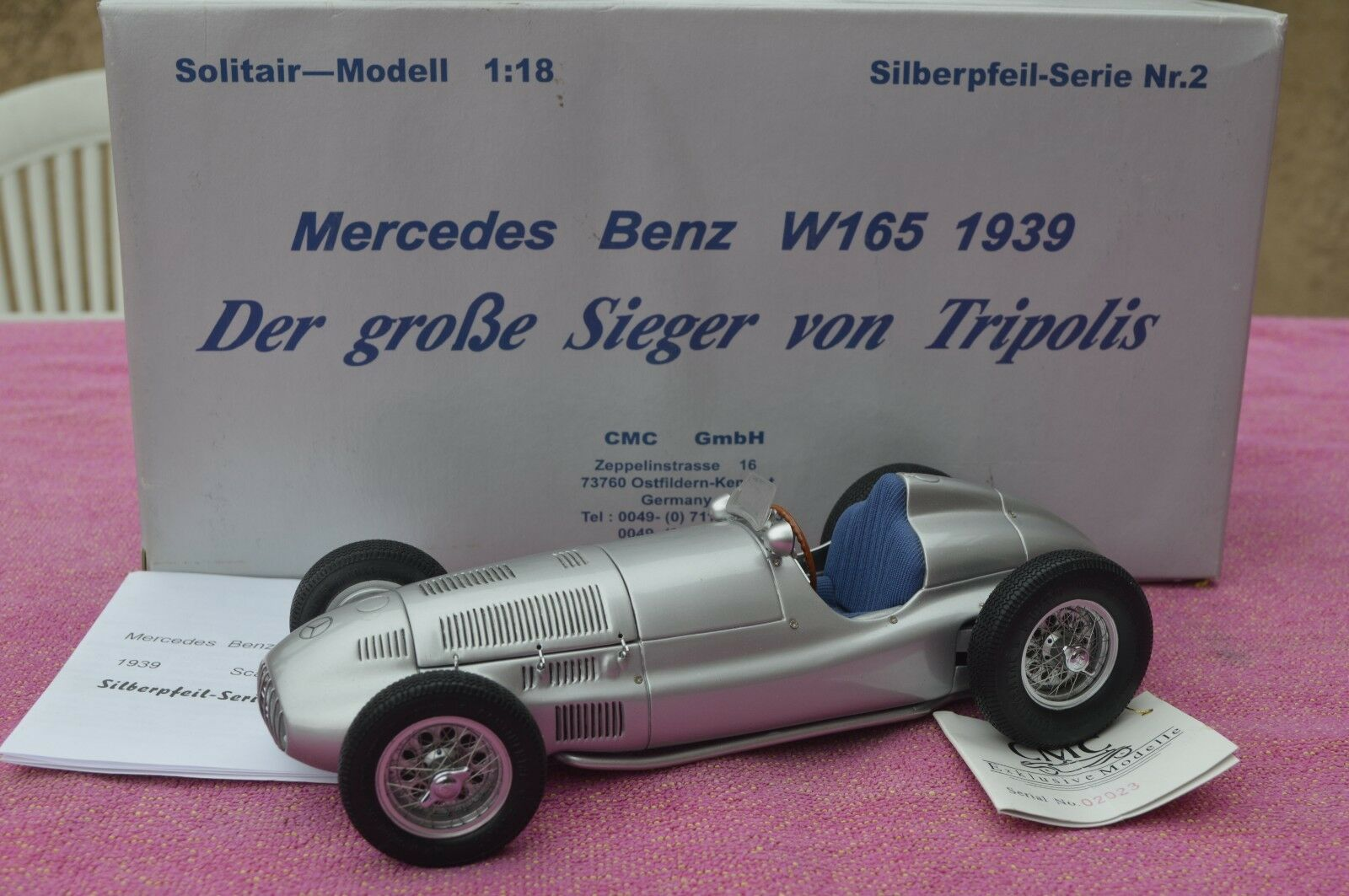 MERCEDES BENZ W 165 GP TRIPOLIS 1939 1 18 CMC M-018 Voiture miniature collection