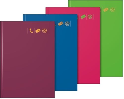 Brunnen Adressbuch Telefonbuch 1064655 14,5x21cm grün pink bordeaux dunkelblau