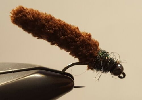Fly Fishing Flies 12 Beaded Dust Mop Fly Dark Brown Color size 10 Barbless Jig