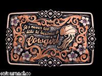 Custom Mortenson Rodeo Trophy Belt Awards Buckle Rhinestones Cowgirl Never Late