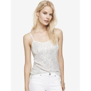 NWT-Express-Womens-White-Sequin-Cami-Tank-Top-Size-Small