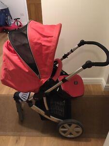 Britax-B-Smart-Rojo-y-Negro-Sistema-De-Viaje-Cochecito-Desde-Recien-Nacido-Asiento-Individual