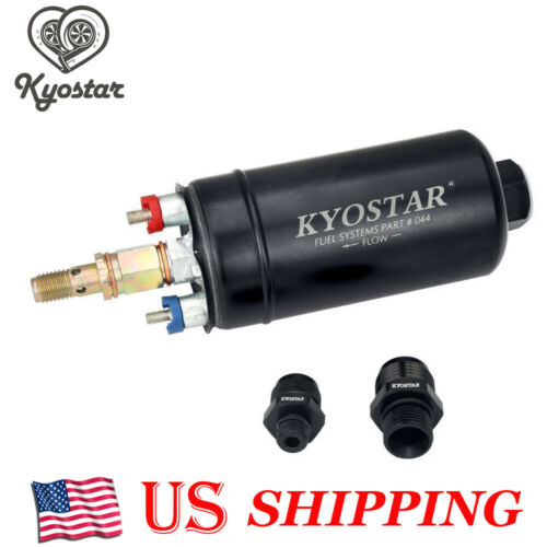KYOSTAR EFI 380LPH 044 Style E85 Compatible Fuel Pump with two Fittings AN10 AN8