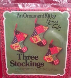 New VINTAGE THREE STOCKINGS CHRISTMAS ORNAMENTS SEWING KIT BY YOURS TRULY 1976