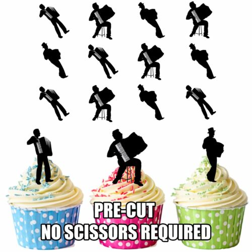 12 Cup Cake Topper Decorations mix1 Vorgeschnitten Accordion Silhouette