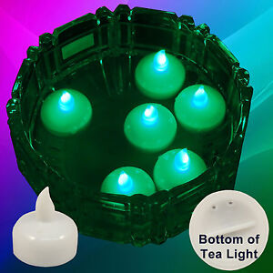 12 flameless floating led tealight battery operated candle green tea lights new ebay. Black Bedroom Furniture Sets. Home Design Ideas