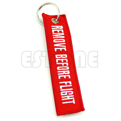 Remove Before Flight Key Chain Luggage Tag Pull Woven Embroidery Keychain 2 Pcs