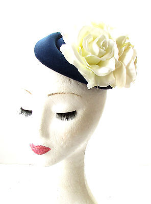 Black Cream Peony Flower Pillbox Hat Fascinator Races Rockabilly 1950s Vtg 202