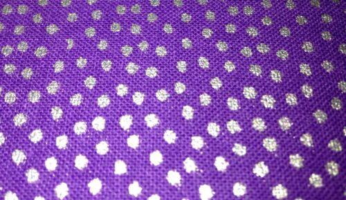 Silver dotty purple fabric JOANN BARGAIN CRAFT material UK fat quarters metallic
