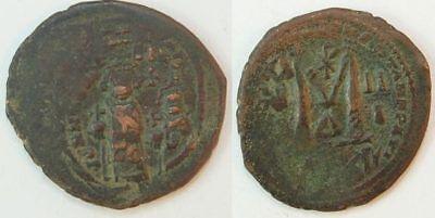 2 Gut Byzanz Heraclius Mehrfach überprägt Reinweiß Und LichtdurchläSsig 610-641 N.chr Follis Konstantinopel Ss