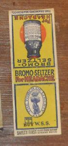 1917-W-S-S-WWI-War-Bond-DiamondSafetyFirst-Advertising-Matchbook-Bromo-Seltzer