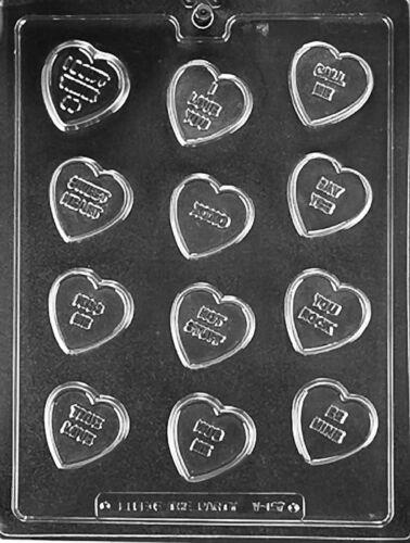 V157 Heart Phrases Valentine Lollipop Sucker Chocolate Candy Soap Mold