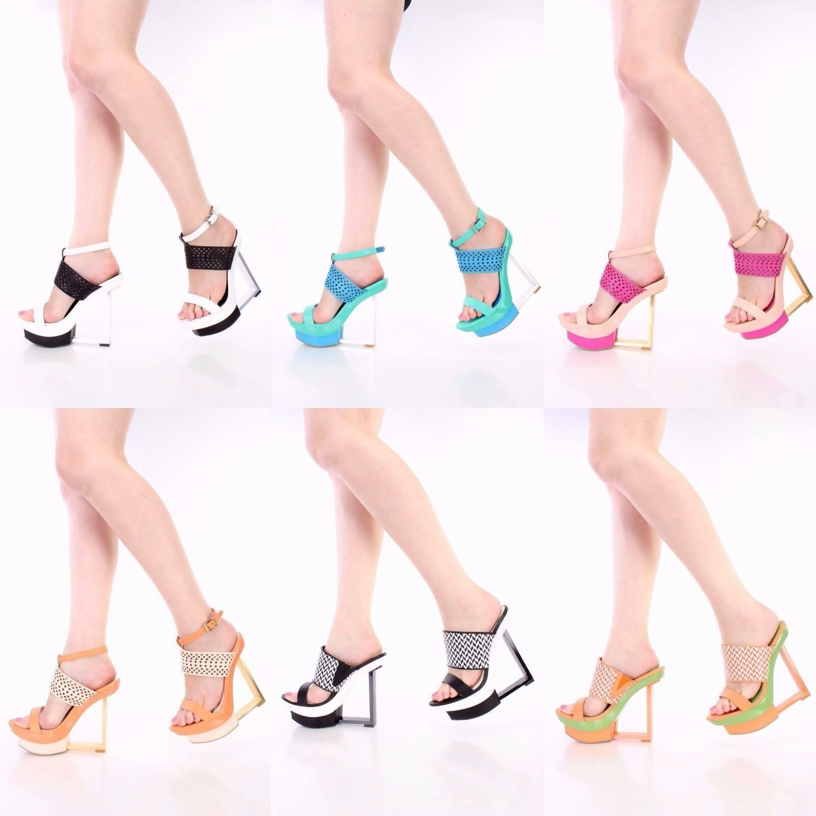 NEU Lot Perforated Open Toe Cut Out Ankle straps Wedges Faux Leder