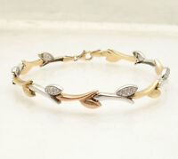 Diamonique Cz Leaf Link Bracelet Real Solid 14k Yellow Rose White Gold Qvc