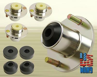 x4 Silver Aluminum Coilover Strut Shocks Mount Extended Top Hat for Civic Crx Ef