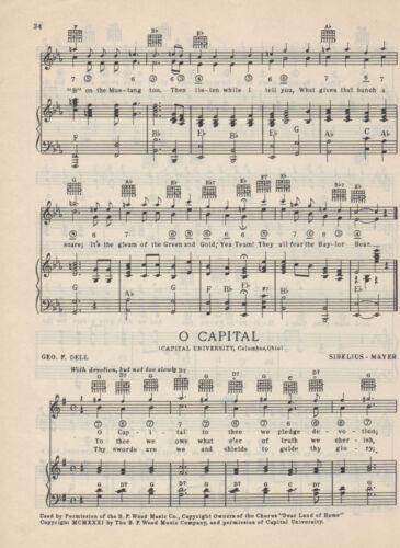 "Vtg BAYLOR UNIVERSITY song sheet  /""BAYLOR BEARS/"" c 38s ~ WACO TEXAS"