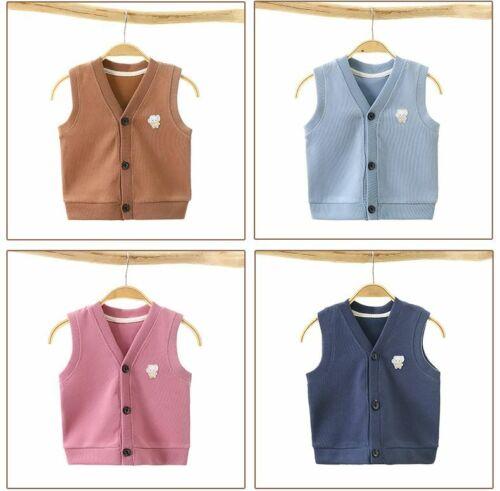 Details about  /Toddler Girl Winter Clothes Cardigan Vest Children Cotton Vest Baby Knit Sweater