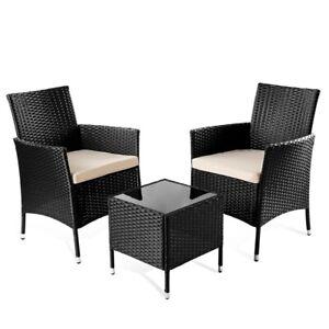 Set de muebles de jardín terraza o balcon TIVOLI mesa+2 sillas negro -McHaus