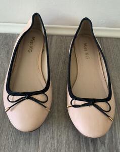 Miss KG size 6 EU 39 Nude Black Piped Ballet Flat Pumps