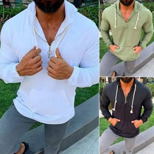 Mens Plain Jogging Hoodies Hooded Casual Loose Fit Sweatshirts Pullover Tops UK